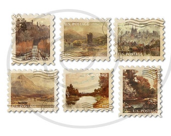 Fake stamps. Old postage stamps. Vintage digital stamps. Postage stamp art. Digital collage sheet. River landscapes. Instant download PNG