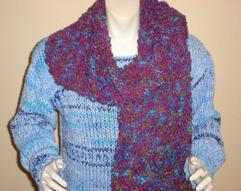 SALE PRICE REDUCED Hand Knit Tweed Purple & Turquoise Scarf, Cotton,Wool, Acrylic blend.