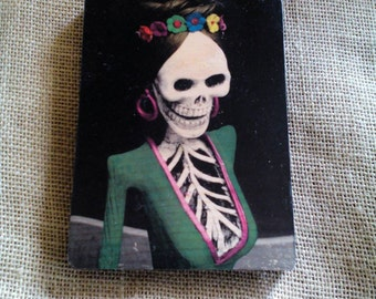 Day of the dead catrina image transfer on wood.