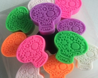 Sugar Skull Soap - Halloween Soap - Halloween Favors - Soap for Kids - Set of 3 Multicolored - Day of the Dead