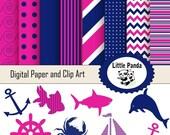70% OFF SALE Nautical Digital Clipart and Digital Paper Set, Instant Download - D161