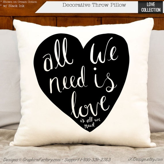 Items similar to all we need is love decorative throw for Bedroom gifts for her