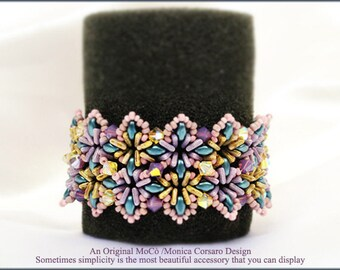 DIY Photo Tutorial eng-ITA *Sparklyna* bracelet ,PDF Pattern 86 with Tri bead,superduo,swarovski&seed beads,instructions,bead weaving