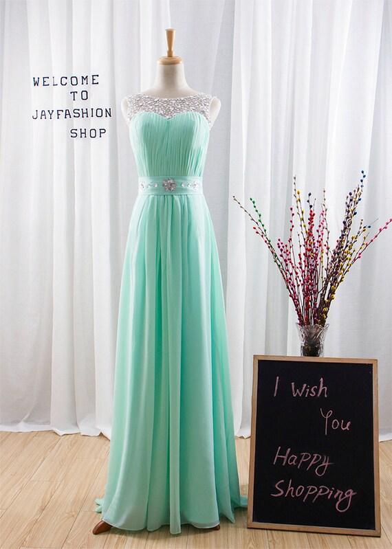 Mint Green Chiffon Simple Bridesmaid prom Dress Round Back Sheer Beading Neckline A-line long Prom Dresses with Lace-up - Bridesmaid Dresses