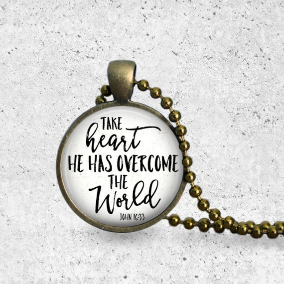 Heart Necklace, Inspirational Gift, Valentines Day Necklace, Christian Scripture, Take Heart Pendant, Christian Jewelry, Encouragment Gift