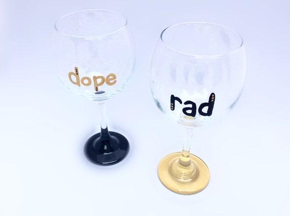 Black and Gold Wine Glasses (set of 2) Dope & Rad