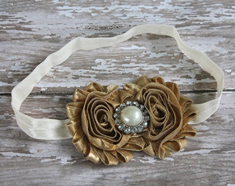Gold and ivory headband, gold headband, baby headband,newborn headband