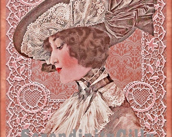 Elegant Edwardian Woman Collage.  (8.5 x 11 inches.) DOWNLOAD