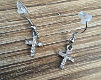 Crystal cross earrings. Very sparkly!