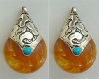 Free S&H - Pair Tibetan 925 Sterling Silver Repousse Turquoise Gemstone Inlay Beeswax Amber Teardrop Shape Pendants / Beads
