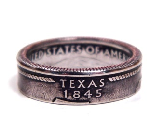 Size 7 1/2 Texas State Quarter Coin Ring