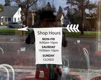Business, Shop Hours Arrow style window decale