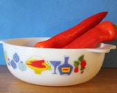 Pyrex Fiesta, 1960's, amazing food and wine graphics, casserole dish, serving bowl. Made in England. Retro kitchen