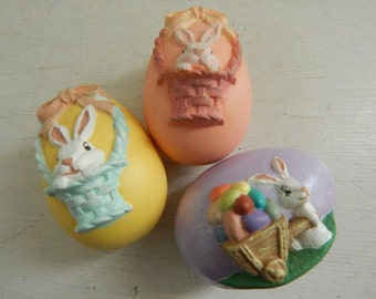 Three Hand Painted and Handcrafted Ceramic Easter Eggs - Yellow, Lilac and Peach Eggs - Decorated w/Bunnies, Baskets & Cart - Set of Three