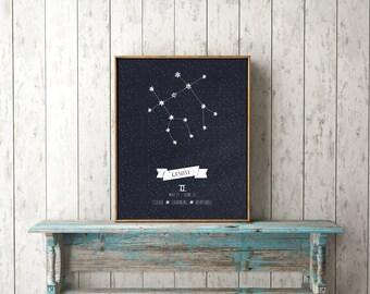 Gemini Constellation Print, Printable Art, Gemini Print, Zodiac Gemini, Instant Download, Gemini Zodiac Sign