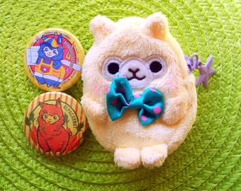 Yellow Alpaca Coin Purse and Pin buttons