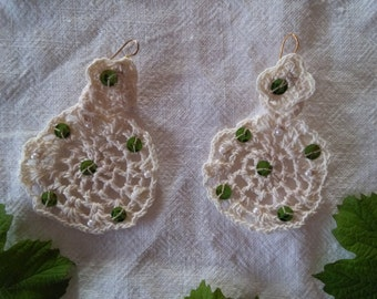 Rustic Crochet Earrings / Summer Earrings