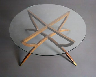 FREE SHIPPING in USA Mid Century Modern Teak Spider Base Glass Top Coffee Table w/ Brass Tips at the Feet