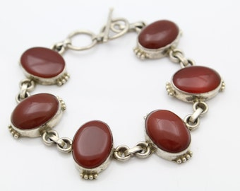 "Gorgeous Sterling Silver and Carnelian Cabochon Artisan Toggle Bracelet 8"". [7436]"