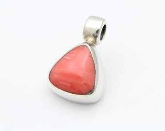 Chunky Triangular Pendant-Slide With Faux Spiny Oyster in Sterling Silver. [9310]