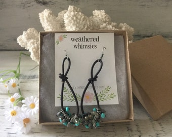 Leather Rope and Turquoise Beads Earrings
