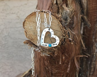 Turquoise and Sterling Heart Necklace with arrows