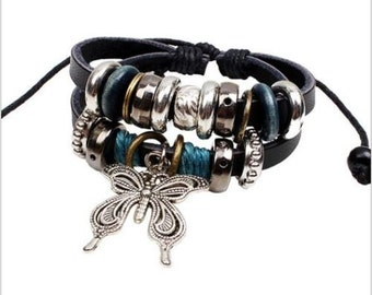 Black Leather and Silver Tone Layered Butterfly Charm Bracelet