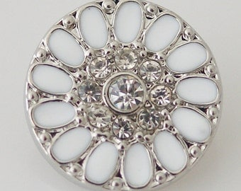 KB8047  White Enamel Daisy with Clear Crystals