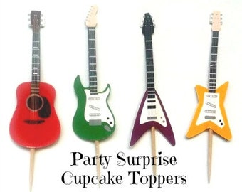 Guitar Cupcake Toppers Guitars Music Rock Band Dance Kids Birthday Disco Rock n' Roll party Guitar decorations cake pops cupcake toppers