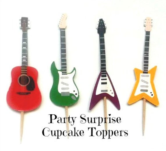 Guitar Cupcake Toppers Guitars Music Rock Band Dance Kids Birthday