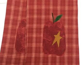 Primitive Red Apple Tea Towel!