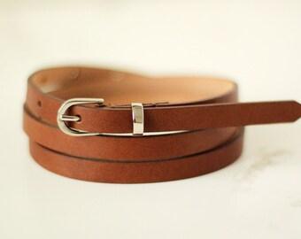 Free shipping! Leather belt, woman belt, brown belt, style belt, skinny belt, waist belt brown, narrow belt, woman leather belt