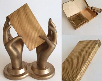 CIGARETTE CASE Vintage 50s 60s Gold Tone Metal Compact Lipstick Clutch