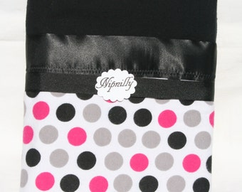Pink, Grey and  Black polka dot flannel baby blanket