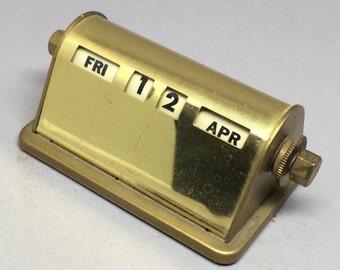 Vintage Brass Perpetual Calendar Worn Patina USA