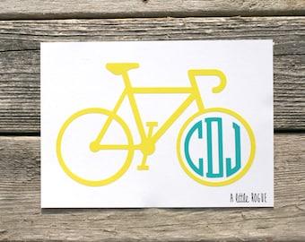 Bicycle Monogram Vinyl Decal | Personalized Monogram | Car Decal | Vinyl Initials
