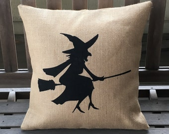 Burlap Witch Pillow - Halloween Pillow *SHIPS Within 3 DAYS!