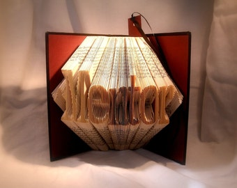 mentor gift-teacher gift-professor gift-folded book art-Upcycled book-Recycled book