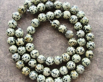 16 inch Strand of Dalmation Jasper Round Beads 10mm