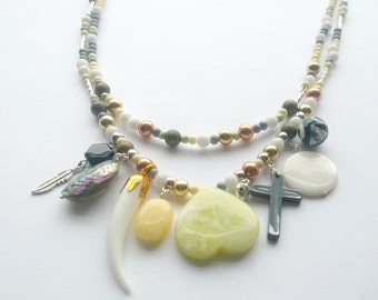 Jade, Shell and Haematite Multi strand Charm Long Necklace With Mixed beads and Silver Chain Soft Earth Tones