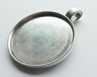 Antique Silver Round Large Bezel Cabachon Setting Pendant 63mm Tray 47mm