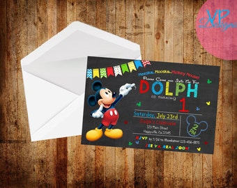Mickey Mouse Chalk Board Theme Birthday invitations set of 15 PRINTED INVITATIONS, with envelopes