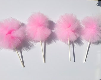 pom Poms on a stick - set of 4, pink and gold party, 1st birthday girl, pink and gold baby shower, Centerpieces & Table Décor