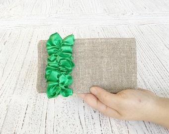 Green Wedding clutches  Green Bridesmaid clutches Green clutch Green bag burlap clutch Rustic wedding clutch  Burlap wedding clutch