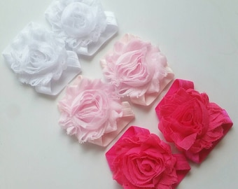 Set of 3 - Pink Ombre - Baby Sandals - Barefoot Sandals - Shabby Rose Sandals - Baby Accessories - Baby Shoes - Elastic Sandals