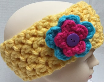 Bright Yellow Earwarmer or Headband with Flower Embellishment for Toddler or Child