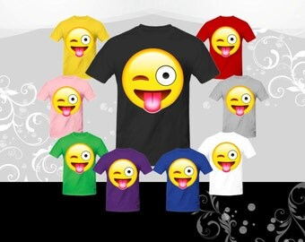Face With Stuck out Tongue and winking Eye Emoji T-shirt (U+1F61C)