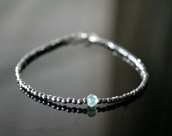 Delicate Silver hematite and aqua chalcedony beads bracelet, sparkly stacking bracelet, Layering gemstone bracelet