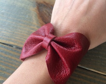 Red Leather Bow Cuff