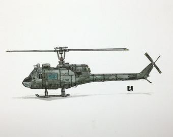 KillerBeeMoto: Original Drawing of Bell UH-1 Iroquois Pen & Ink With Water Color Effect